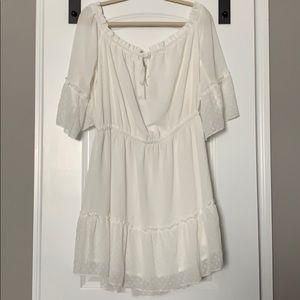 White boho mini dress